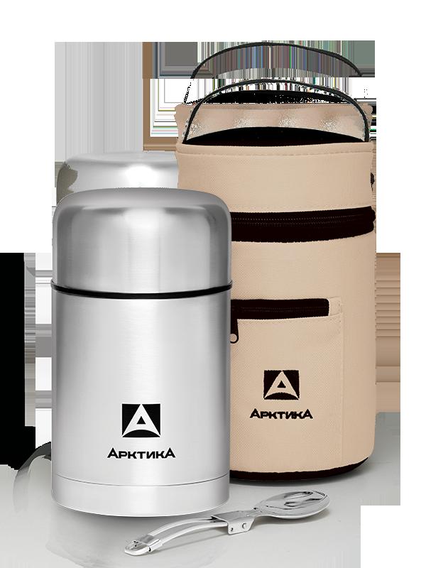 Термос для еды Арктика (0,75 литра) с супер-широким горлом, стальной, чехол*