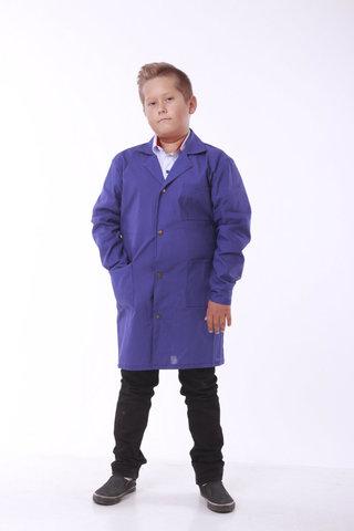 Халат шкільний робочий Garment Factory на кнопках, бавовна 100%, колір синій, 44 розмір
