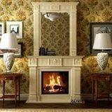 Арт 108 Каминная облицовка натуральный мрамор Крема Марфил +рама для зеркала