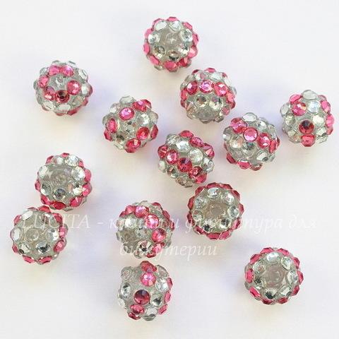Бусина для шамбалы со стразами, цвет - бело-розовый, 12 мм