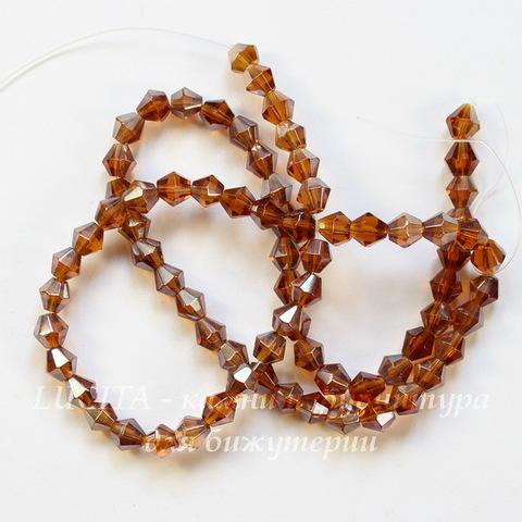 Бусина стеклянная, биконус, цвет - коричневый с АВ покрытием, 4 мм, нить