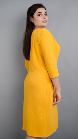 Арина креп. Красивое платье больших размеров. Горчица.
