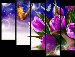 """Модульная картина """"Фиолетовые тюльпаны"""""""