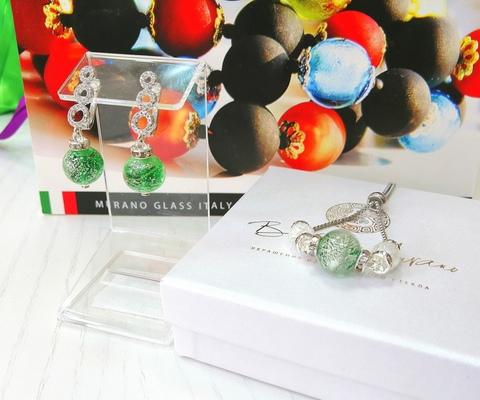 Комплект из браслета и серег со стразами Sandra Ca'D'oro Emerald Silver 030OB