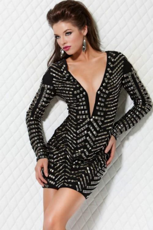 Jovani 9419 Черное платье с металлическими украшениями покрывают всю поверхность модели, рокерское и сексуальное
