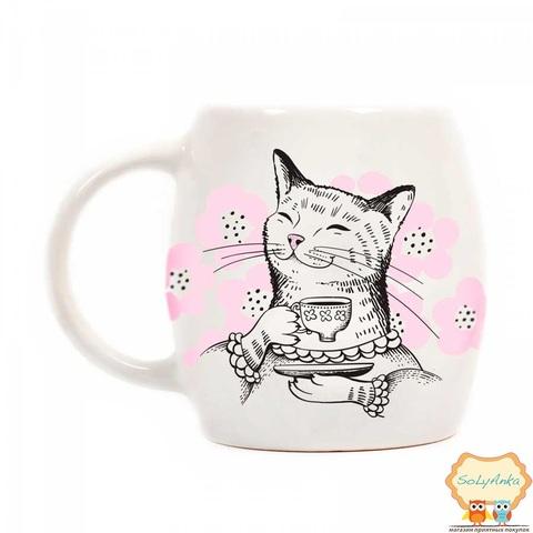 Чашка Кішка з чаєм
