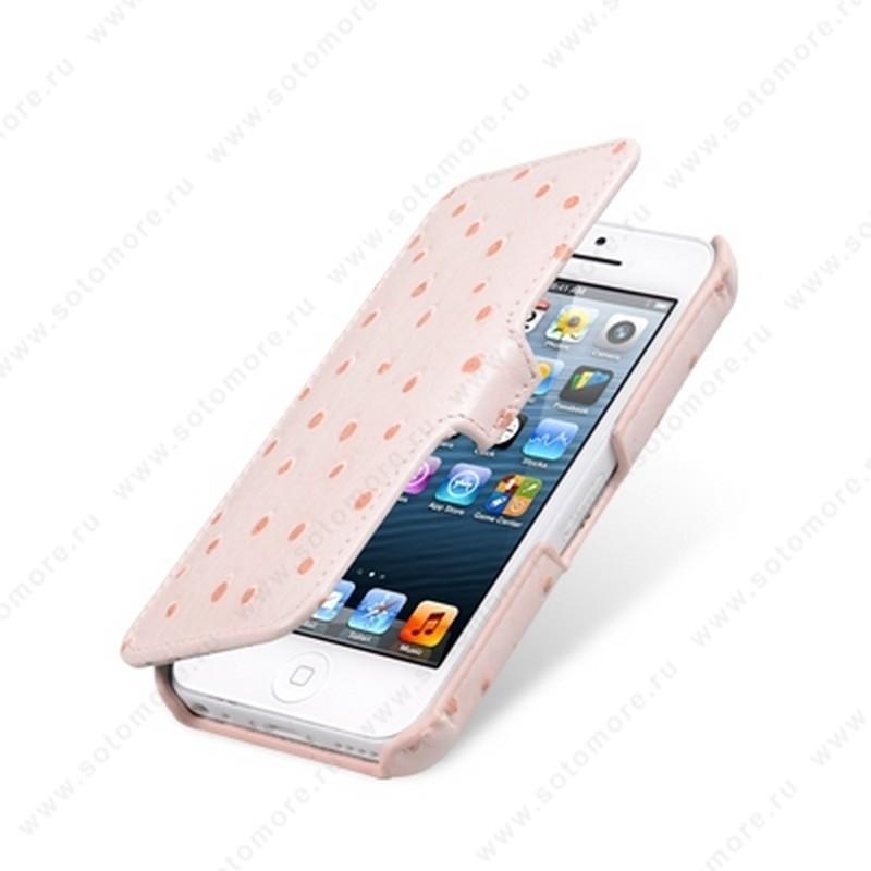 Чехол-книжка Melkco для iPhone SE/ 5s/ 5C/ 5 Leather Case Booka Type (Ostrich Print pattern - Pink)