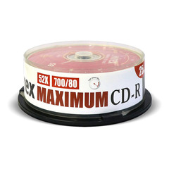 Носители информации Mirex CD-R MAXIMUM 52x cake box 25 (UL120052A8M)