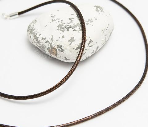 Коричневый шнур на шею из текстиля (55 см)