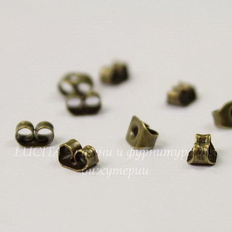 Зажим для пуссет-гвоздиков 5х4 мм (цвет - античная бронза), 5 пар