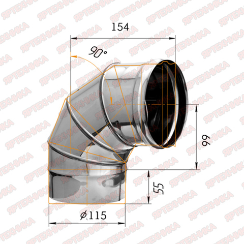 Отвод моно 90° d115мм (430/0,5 мм) Ferrum