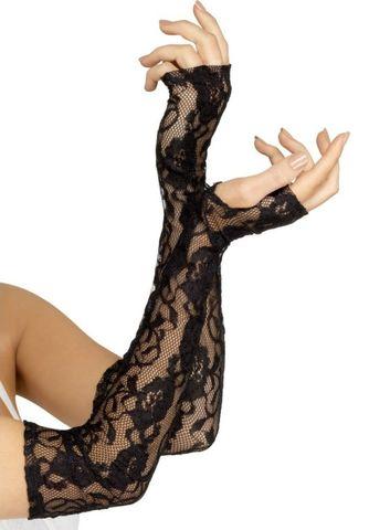 Кружевные длинные перчатки с открытыми пальчиками