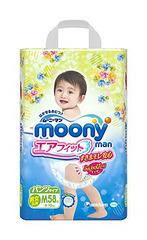 Подгузники-трусики Moony японские размер М универсальные (вес 6 - 10 кг) 58 шт