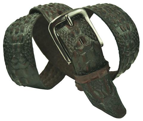 Мужской кожаный коричневый ремень под крокодила 40SVAR-C-002