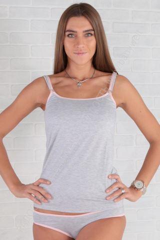 Майка для беременных и кормящих 05025 серый меланж, розовый