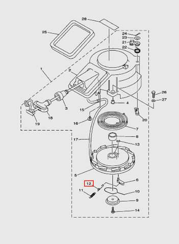Пружина стопора-упора возвратная для лодочного мотора T15, OTH 9,9 SEA-PRO (7-12)