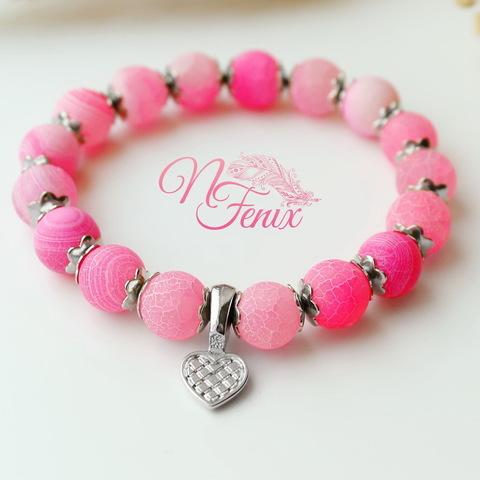 Бусина Агат цветочный матовый (тониров), шарик, цвет - розовый, 10 мм, нить (Розовый браслет. Пример)