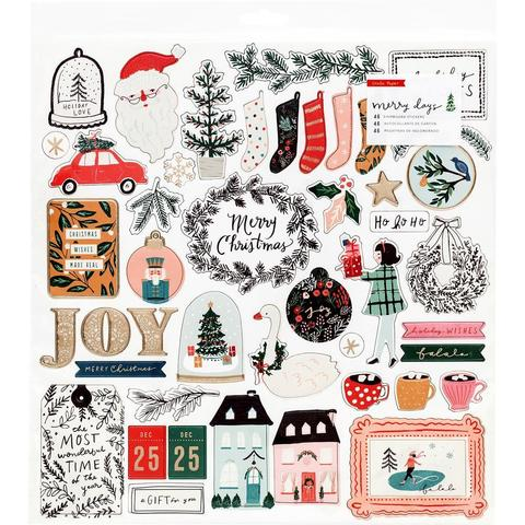 Чипборд 30х30см - Merry Days Chipboard Stickers -  46 шт