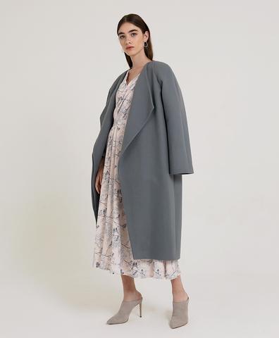 Пальто из шерсти серое