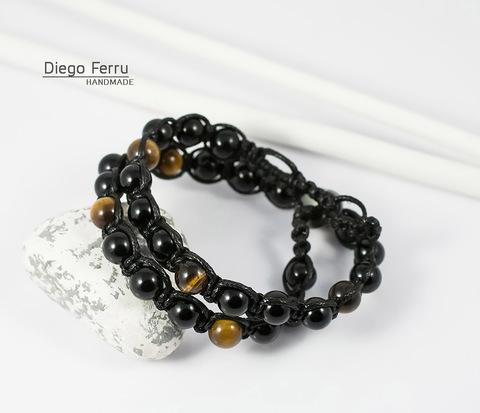 Двойной браслет «Diego Ferru» из тигрового глаза и агата, ручная работа
