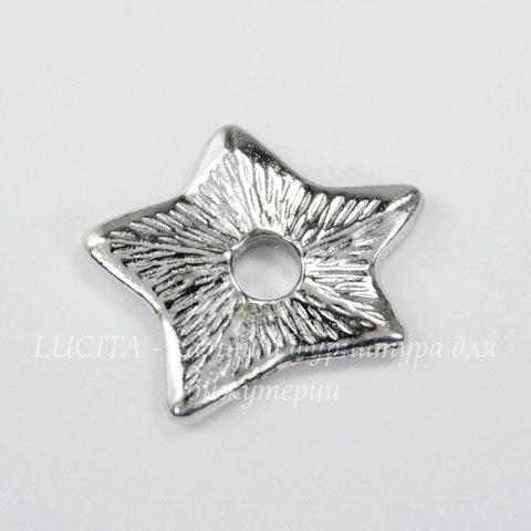 """Элемент под заклепку TierraCast """"Звезда"""" 14х12 мм (цвет-платина)"""
