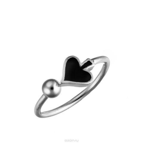 Серебряное кольцо с черной эмалью