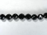Бусина из шпинели черной, фигурная, 8 мм (шар, граненая)
