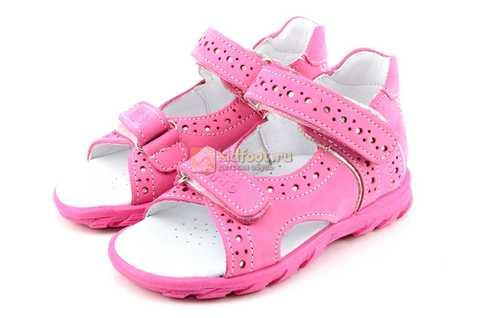 Босоножки Тотто из натуральной кожи с открытым носом для девочек, цвет розовый. Изображение 6 из 12.