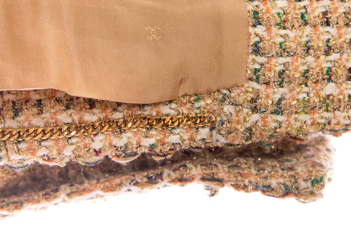 Роскошный твидовый комплект золотистого цвета, 38 размер