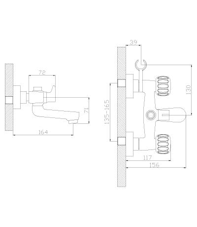 Смеситель двуручный для ванны K02-83