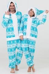 """Пижама-кигуруми Футужама """"Санта"""" бирюза с оленями"""