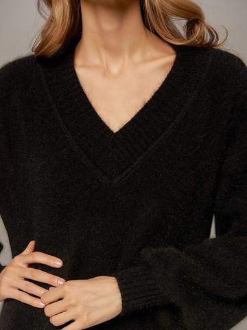 Женское платье черного цвета из ангоры - фото 2