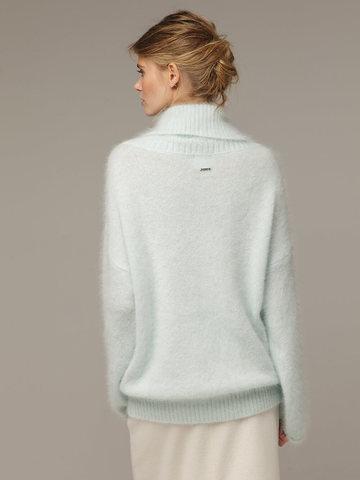 Женский джемпер бирюзового цвета с объемным воротником - фото 3