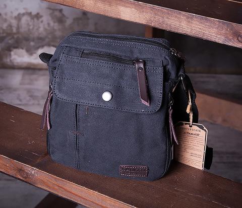 BAG406-1 Черная небольшая сумка из ткани с ремнем на плечо