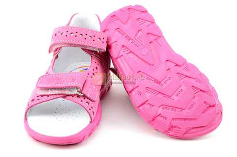 Босоножки Тотто из натуральной кожи с открытым носом для девочек, цвет розовый. Изображение 8 из 12.