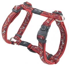 Rogz шлейка нейлон Extra Large 43-73см/ ширина 2,5см красный/косточки
