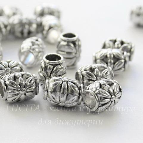 """Бусина металлическая """"Цветочки"""" (цвет - античное серебро) 10х8 мм"""