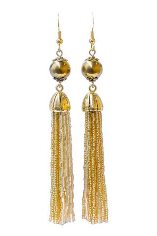 Серьги бисерные золотистые длинные из 18 нитей