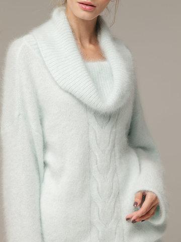 Женский джемпер бирюзового цвета с объемным воротником - фото 2