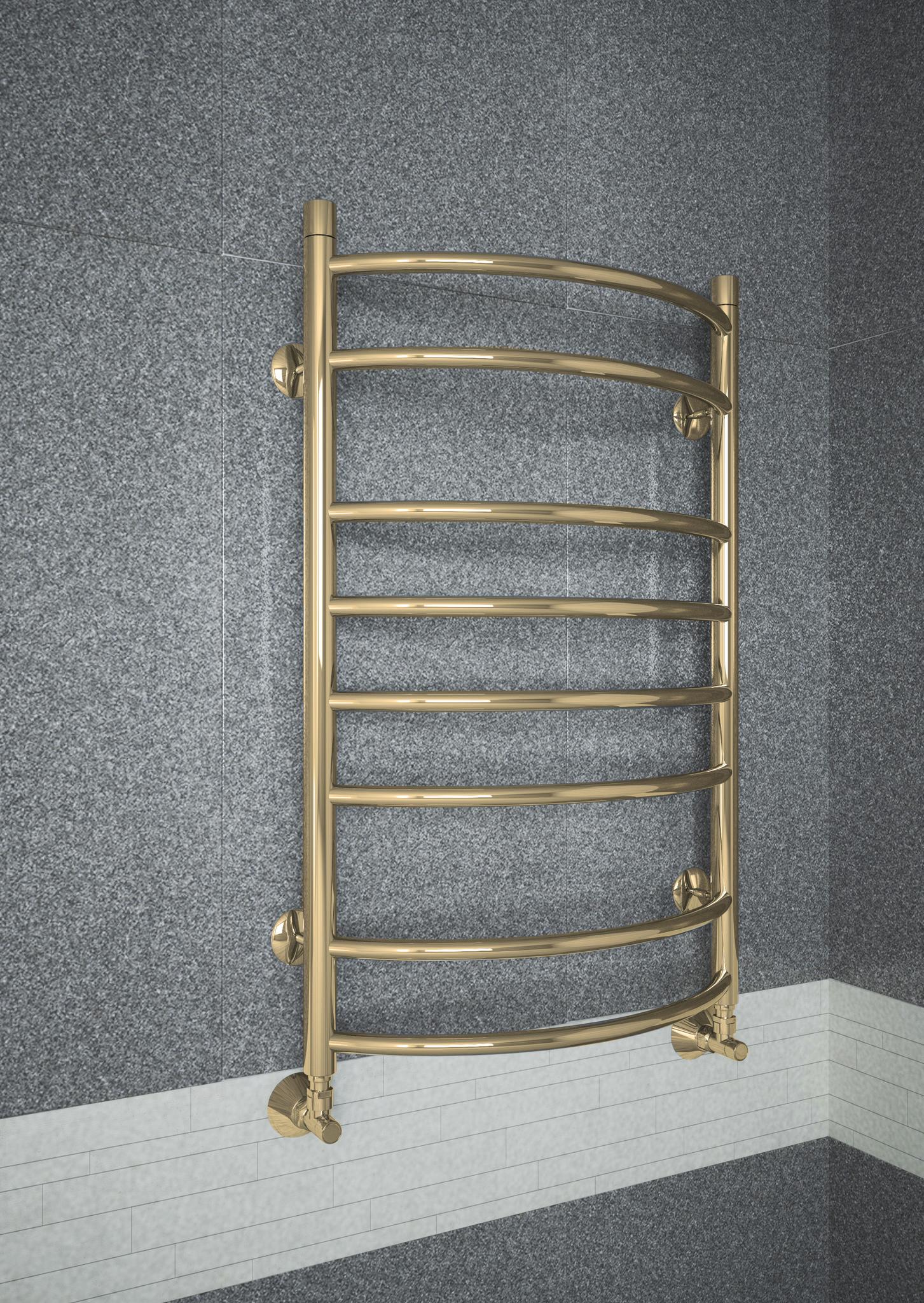 Forma Bronze - бронзовый полотенцесушитель шириной 400 мм, выпуклый вперед. Бронза.