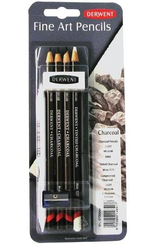 Набор угольных карандашей Derwent Charcoal, 9 предметов в блистере
