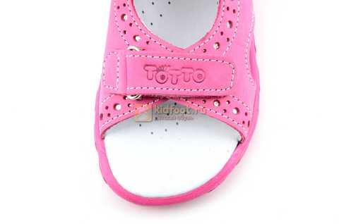 Босоножки Тотто из натуральной кожи с открытым носом для девочек, цвет розовый. Изображение 10 из 12.
