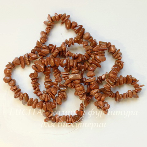 Бусина Авантюрин (искусств), крошка, цвет - коричневый, 2-8 мм, нить 86-88 см