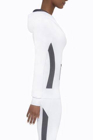 Белая спортивная кофта с капюшоном 200 den