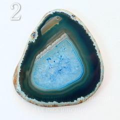 Подвеска Срез Агата (тониров), цвет - морозный синий, 69-92 мм
