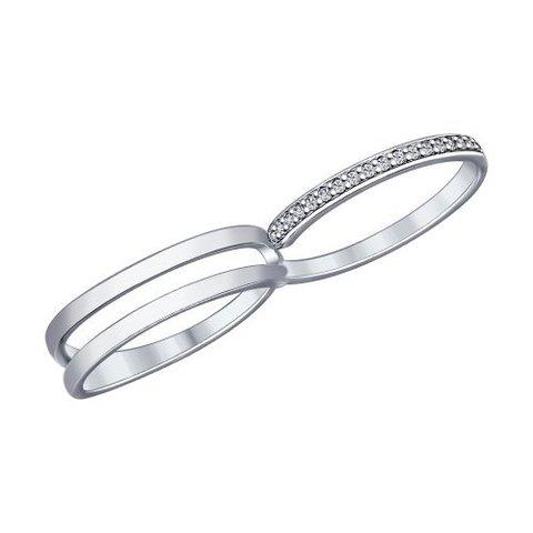 Кольцо на два пальца  из серебра с фианитами от SOKOLOV