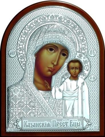 Серебряная икона Божией Матери Казанской 16х12см
