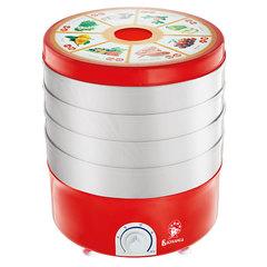 Сушилка для овощей и фруктов электр. ВАСИЛИСА СО3-520, 520 Вт, красная с прозрачными секциями