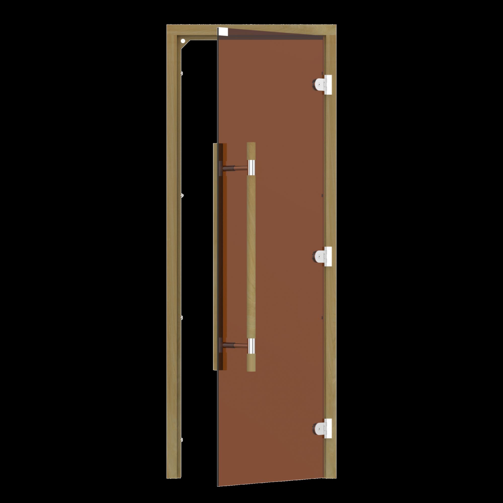 Двери: Дверь SAWO 741-3SGD-R-3 (7/19, бронза, правая, без порога, кедр, прямая ручка с металлической вставкой)