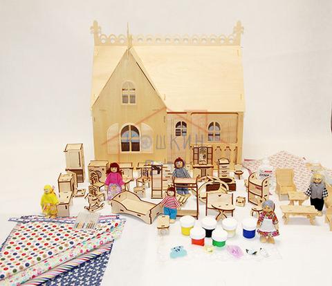 """Сборная деревянная модель """"Дом-мечта"""" с полным набором мебели и набором кукол"""